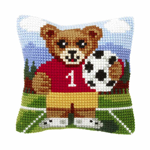 Orchidea Football Bear Cushion Cross Stitch Kit