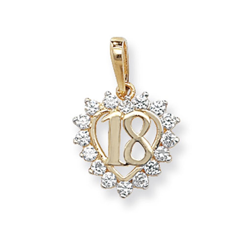 18th Birthday Heart Initial Bracelet 18th Birthday Jewelry: 9ct Gold 18th Birthday Cubic Zirconia Heart Necklace